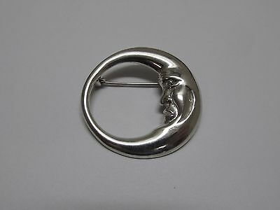 """Lovely Vintage 925 Sterling Silver Man in the Moon 1 1/2"""" Brooch Pin 7.9 Grams!"""