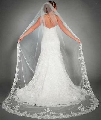 Ivory 1 Tier Bridal Cathedral Lace Edge Bridal Wedding Veil With Comb B002