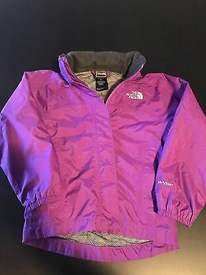 Girls North Face Hyvent Waterproof Coat Jacket Purple Size 5T All Weather
