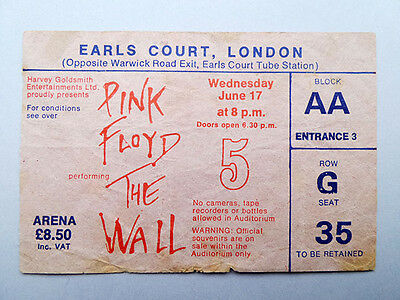 Pink Floyd The Wall Tour Ticket 1981