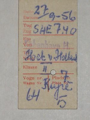 Railwayana - Danish Railway Ticket - Copenhagen to Hook of Holland, 1956
