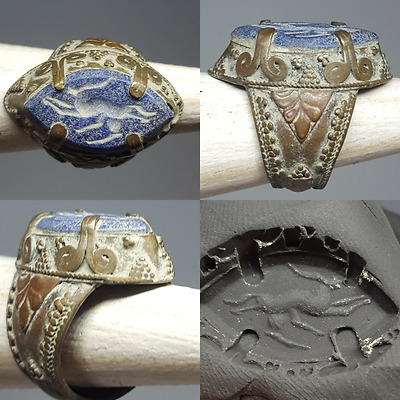 Ancient Lapis lazuli Deer intaglio Stone Bronze Ring #k1