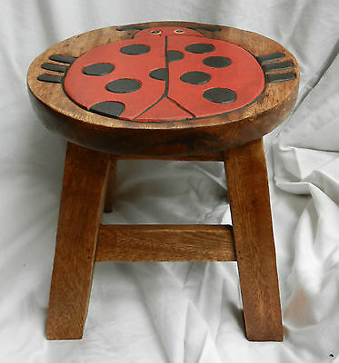 Chunky Hand Carved Solid Wooden Child's Stool - Ladybird Design - NEW