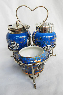 Edwardian Porcelain and Silver Plate / Plated Cruet Set in Stand c 1900 - 1910