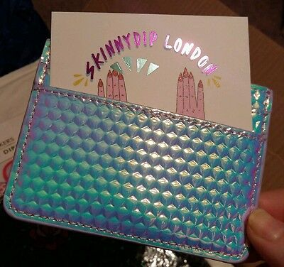 Skinnydip Skinny Druzy Card Holder Holographic Iridescent new & unused with tag