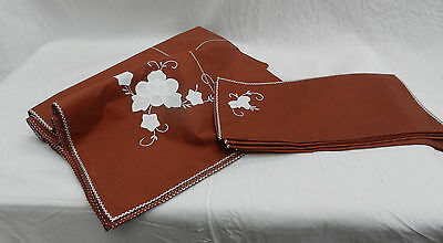 Vintage Applique Cotton Brown and White Tablecloth and Napkin Set
