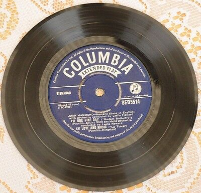 "JOAN HAMMOND One fine day (Columbia 1956 7"" EP) EX condition"