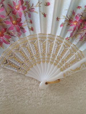 Ladies White Spanish Style Fan With Pink Floral Design