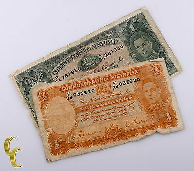 1939-1942 Commonwealth of  Australia 2 Pc Note Lot 1 Pound, 10 Shilling (G-VG)