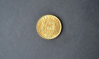 Napoleon III Emperour 1868 BB,Gold 20 Francs coin, MS 60