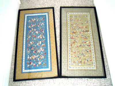 Two Chinese 100 Children Silk Embroidery Panels Framed & Glazed