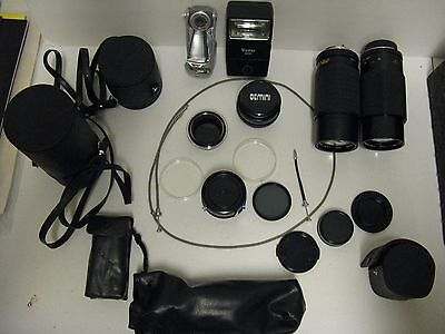 Lot of Assorted Lenses, Filters, Flashes, etc. with covers and Camera bag