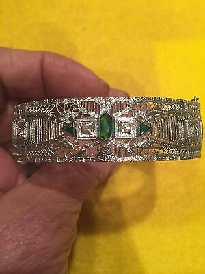 Art Deco hinge bracelet! Rhodium plated bangle! White and green glass stones!