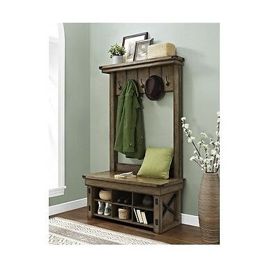 Irwin Wood Veneer Entryway Hall Tree with Storage Bench 6 Cubbies 5 Hooks New