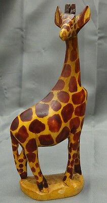 Vintage hand carved wooden giraffe figure figurine animal statue wood carving