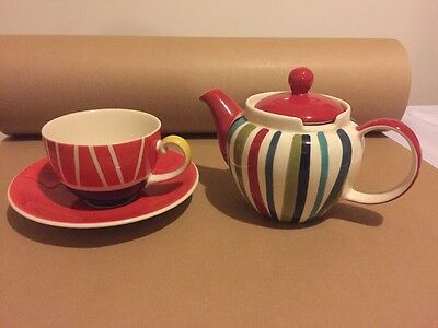 Whittard Tea For One Teapot, Cup & Saucer Hand painted New