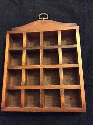 Thimble wooden display case with wall hook holds 16 Thimbles