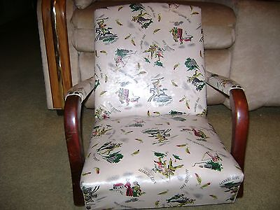 Vintage Child Davy Crockett Vinyl Rocking Chair...NO Rockers