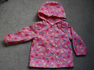Baby M & Co Girl rain coat jacket mac. Pink with spots. 18-24 month/2 years