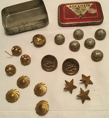 Vintage Assorted  Buttons And Pips In Vintage Capsule Tin