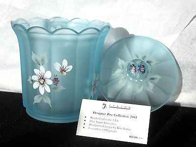 Fenton BLUE TOPAZ HP LIMITED ED Covered Box Mint! DESIGNER BOX COLLECTION 2003