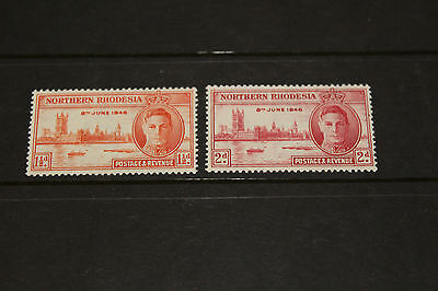 Northern Rhodesia 1946 Victory Set Of 2 Fine  M//l/h