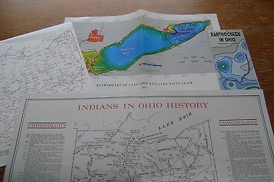 4 Vintage OHIO Science & Historical Maps Earthquakes Indians Underground RR Erie