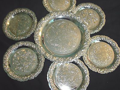 Set Of Seven Silver Coloured Metal Coaster Made In England