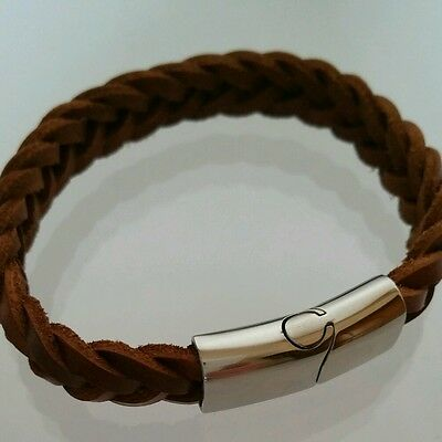 Oker Brown Leather Men's Braided Bracelet With Stainless Steel Clasp