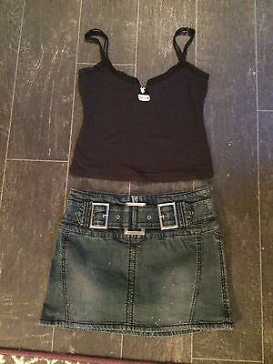 Bundle Ladies Clothes Top Playboy Skirt River Island Both Size 8