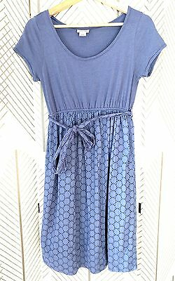 MOTHERHOOD Powder Blue Lavender Maternity Short Sleeve Dress sz S 2