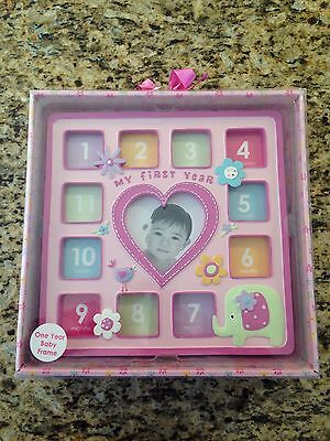 Baby's First Year Photo Frame by Nursery Rhyme 12 Month Pink Photo Frame