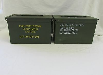 2 Pack 50 Cal Ammo Can Box  Army Military M2A1 Metal Storage 5.56