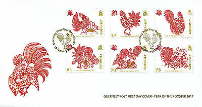 Guernsey 2017 FDC Year of Rooster 6v Set Cover Chinese Lunar New Year Stamps