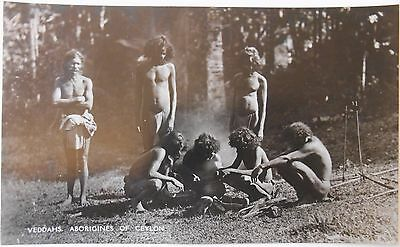 Vintage RP Postcard Veddahs Aborigines Of Ceylon British Sri Lanka Natives