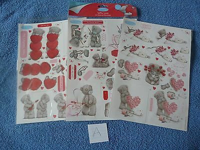 3 x Me to You 'With Love' Cardmaking Die-cut Decoupage Sheets - BNIP (A)
