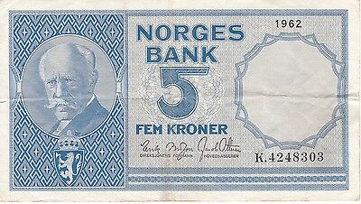 Nice Banknote From Norway 5 Kroner Year 1962  (Rare)