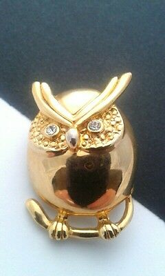 Vintage Jewellery - Gold Plated Owl Brooch With Glass Eyes, Vgc
