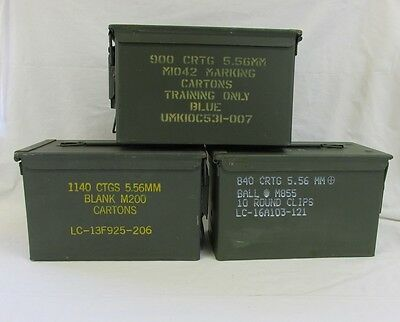 3 Pack 50 Cal Ammo Can Box  Army Military M2A1 Metal Storage 5.56