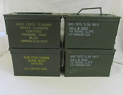 4 Pack 50 Cal Ammo Can Box  Army Military M2A1 Metal Storage 5.56