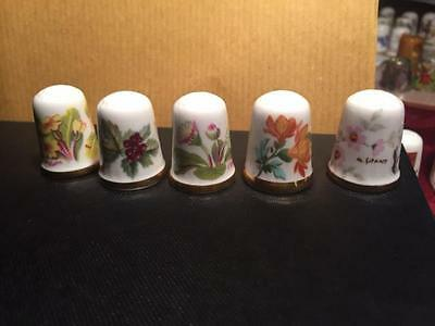 Quality Handpainted Signed Bone China Thimbles By Caverswall, England - Floral