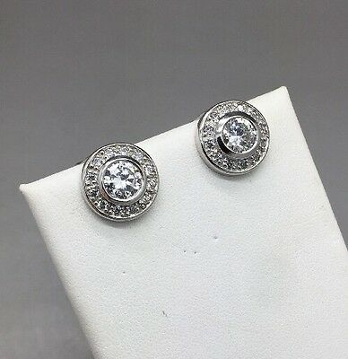 Gorgeous Pair Of Sterling Silver & Clear Rhinestone Clip On Earrings! Bling!