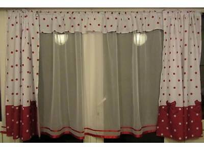 Luxury White Voile Lace Net Curtain with red ribbons & Matching Curtain Set