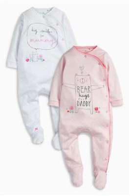Next Baby Girls Pink Mummy Daddy Sleepsuits babygrows 2 Pack 0-3 month BNWT