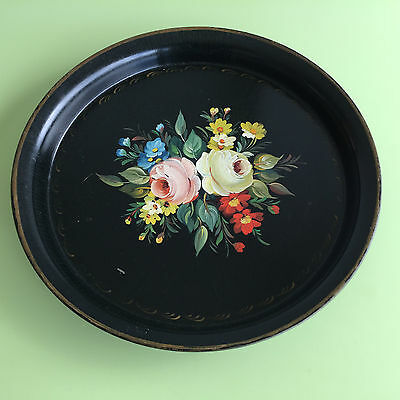 Vintage Hand painted French Toleware tray Flowers Botanical Roses Cottage garden
