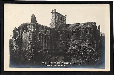 """MELROSE ABBEY, """"View from N.W."""", Scotland. RPPC."""