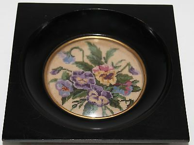 Antique Needlepoint Micro Petit Point Tapestry Bubble Glass Framed Flowers