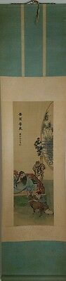 Fine Late Qing Early Republic Antique Chinese Scroll Painting Silk Scholar & Boy