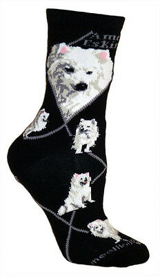 American Eskimo Dog Breed Black Lightweight Stretch Cotton Adult Socks