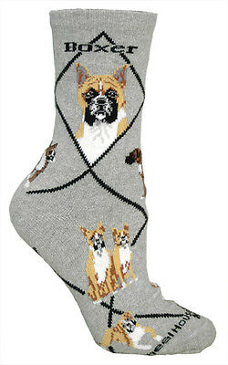 Boxer Dog Breed Gray Lightweight Stretch Cotton Adult Socks